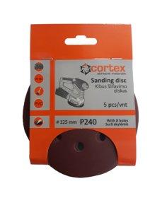 Šlifavimo diskas CORTEX, P240, 125 mm, 8 skylės, 5 vnt.