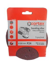Šlifavimo diskas CORTEX, P24, 150 mm, 15 skylių, 5 vnt.