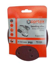 Šlifavimo diskas CORTEX, P60, 150 mm, 15 skylių, 5 vnt.