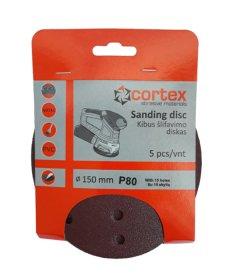 Šlifavimo diskas CORTEX, P80, 150 mm, 15 skylių, 5 vnt.