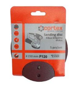 Šlifavimo diskas CORTEX, P120, 150 mm, 15 skylių, 5 vnt.