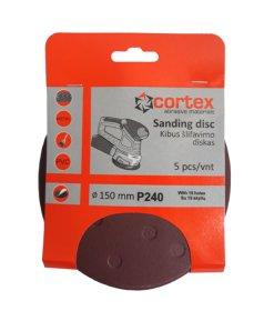 Šlifavimo diskas CORTEX, P150, 150 mm, 15 skylių, 5 vnt.