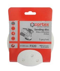 Šlifavimo diskas CORTEX, P320, 150 mm, 15 skylių, 5 vnt.