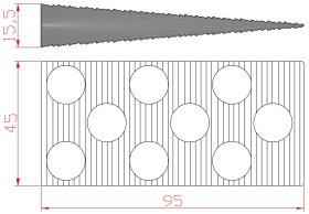 Montažiniai pleištai EDELMAX 1633:E, 95 x 45 x 15,5 mm, dantukai iš abiejų pusių, 50 vnt.