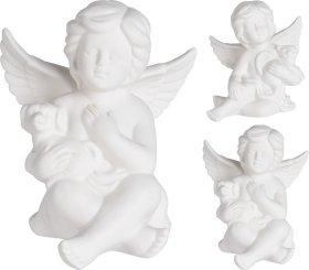 Statulėlė angelo formos, porcelianas, įvairių dizianų, baltos sp., 131 x 124 x 149 mm.