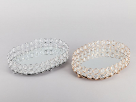 Dekoratyvinis padėkliukas su kristalais, aukso arba sidabro sp., 25 x 18 cm.