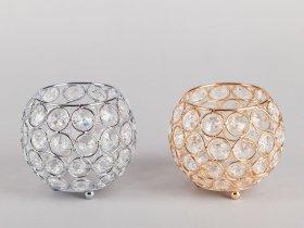 Žvakidė su kristalais apvalios formos