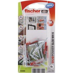 Dvikomponenčiai kaiščiai FISCHER DUOPOWER su L formos kabliu 6 x 30 mm, 6 vnt.