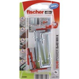 Dvikomponenčiai kaiščiai FISCHER DUOPOWER su L formos kabliu 8 x 40 mm, 4 vnt.
