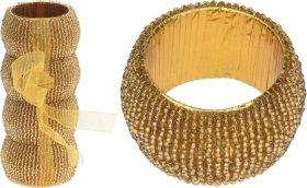 Servetėlių laikiklių komplektas žiedo formos su karoliukais 4 vnt., aukso sp.