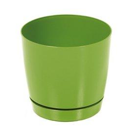 Plastikinis kambarinis vazonas, COUBI su padėklu, žalios sp., vazono skersmuo 15,5 cm.