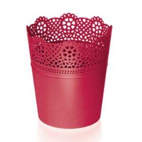 Plastikinis kambarinis vazonas, LACE, raudonos sp., vazono skersmuo 14 cm., N