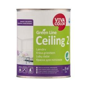 Vandeniniai dažai luboms VIVACOLOR GREEN LINE CEILING, 0,9 l, A bazė, balti, visiškai matiniai