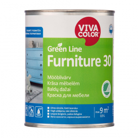 Baldų dažai VIVACOLOR GREEN LINE FURNITURE 30, 0,9 l, A bazė, balti, pusiau matiniai