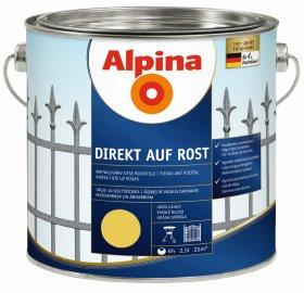 Antikoroziniai dažai ALPINA DIREKT AUF ROST, 2,5 l, blizgūs, geltonos spalvos