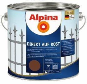 Antikoroziniai dažai ALPINA DIREKT AUF ROST, 2,5 l, blizgūs, tamsiai rudos spalvos