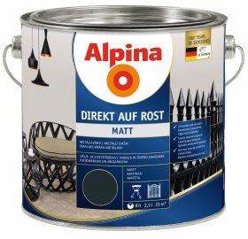 Antikoroziniai dažai ALPINA DIREKT AUF ROST, 2,5 l, matiniai, antracito spalvos, RAL 7016
