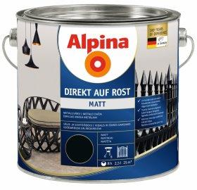 Antikoroziniai dažai ALPINA DIREKT AUF ROST, 2,5 l, matiniai, juodos spalvos, RAL 9005