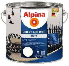 Antikoroziniai dažai ALPINA DIREKT AUF ROST, 2,5 l, matiniai, baltos spalvos, RAL9010
