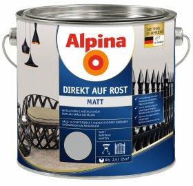 Antikoroziniai dažai ALPINA DIREKT AUF ROST, 2,5 l, matiniai, šviesiai pilkos spalvos, RAL 7001