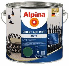 Antikoroziniai dažai ALPINA DIREKT AUF ROST, 2,5 l, matiniai, žalios spalvos, RAL 6005