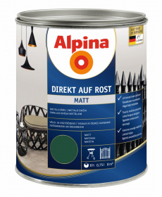 Antikoroziniai dažai ALPINA DIREKT AUF ROST, 0,75 l, matiniai, žalios spalvos, RAL6005