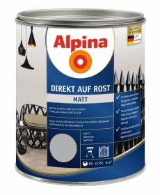 Antikoroziniai dažai ALPINA DIREKT AUF ROST, 0,75 l, matiniai, šviesiai pilkos spalvos, RAL7001