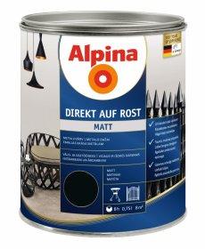 Antikoroziniai dažai ALPINA DIREKT AUF ROST, 0,75 l, matiniai, juodos spalvos,  RAL9005