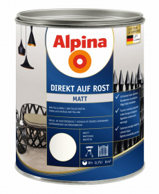 Antikoroziniai dažai ALPINA DIREKT AUF ROST, 0,75 l, matiniai, baltos spalvos, RAL9010