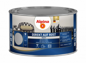 Antikoroziniai dažai ALPINA DIREKT AUF ROST, 0,3 l, matiniai, šviesiai pilkos spalvos, RAL7001