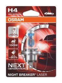 Automobilinė lemputė OSRAM Night breaker laser +150% H4 60/55W 12V P43T, 1 vnt.