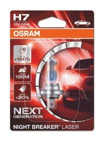 Automobilinė lemputė OSRAM Night breaker laser +150% H7 55W 12V PX26D, 1 vnt.