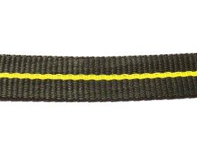 Austinis diržas 25mm, polipropileninė pinta juosta, juoda / geltona