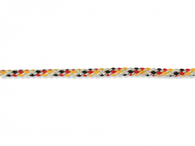 Polipropileninis lynas, 6mm × 10m, juodos /raudonos/auksinės spalvos