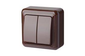 Jungiklis LIREGUS DELTA 2 klavišų, paviršinis, rudos spalvos, PJ5 10-001 R