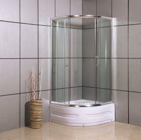 Dušo kabina COMBO Nida DN-A17, 90 x 90 x 198 cm, pusapvalė,  matinis grūdintas stiklas, aukštas akrilinis padėklas 34 cm, chromuotas rėmas