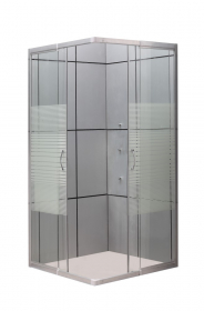 Dušo kabina COMBO Cuba DN-AB05, (90-78) x (90-78) x 185 cm, kvadratinė, grūdintas skaidrus stiklas su baltomis juostomis, be padėklo,  reguliuojamas rėmas