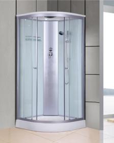 Dušo kabina COMBO Rimini DN-055, 90 x 90 x 215 cm, masažinė, ketursienė, grūdintas pilkas stiklas, akrilinis padėklas