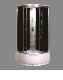 Dušo kabina COMBO Dominika 314-10W, 90 x 90 x 215 cm, hidromas. akril.pad.40 cm, skaidr.grūd.stiklas, su stogu, juod.sien.