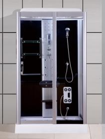 Dušo kabina COMBO La Perla DN-057, 80 x 120 x 210 cm, hidromas. akril.pad.12,5 cm, pilkas grūd.stiklas, su stogu, juod.sien.