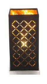 Stalinis nakties šviestuvas GLOBO CLARKE, E14, 1 x 40W, 230V, matinio nikelio sp., aksomas juodos/auksinės sp., su jungikliu, 110 x 110 x 250 mm, 15229T1