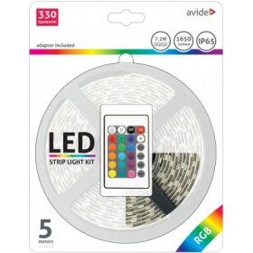Šviesos diodų juostos komplektas AVIDE AT-4267, LED 5 m, 7,2 W/m, IP65, RGB keičia spalvas, 1650 lm, 12V, SMD5050, 120 laipsnių, 330 lm/m