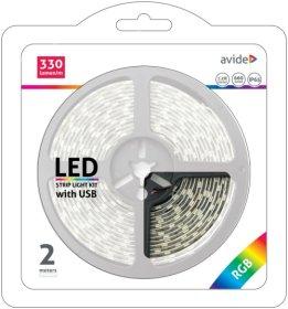 Šviesos diodų juostos komplektas AVIDE AT-4281, LED 2 m, 7,2 W/m, IP65, RGB keičia spalvas, 660 lm, 5V, SMD5050, 120 laipsnių, 330 lm/m, juodos sp.
