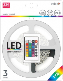 Šviesos diodų juostos komplektas AVIDE AT-4021, LED 3 m, 7,2 W/m, IP20, RGB keičia spalvas, 990 lm, 12V, SMD5050, 120 laipsnių, 330 lm/m