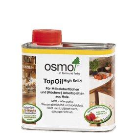 Medienos aliejus su kietaisiais vaškais OSMO TopOil 3028, skaidrus šilko matinis, skirtas stalviršiams, 0.5 l