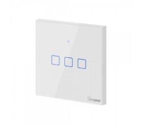 Išmanusis jungiklis SONOFF T0EU3C-TX, 3 kanalų, 240W/1 kanalui, 720W/viso, 230V, valdomas liečiamu mygtuku, programėle, Wi-Fi,  galima valdyti balsu, baltos sp., IM190314011