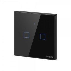 Išmanusis jungiklis SONOFF T3EU2C-TX, 2 kanalų, 480W/1 kanalui, 230V, valdomas liečiamu mygtuku, programėle, Wi-Fi, IM190314019