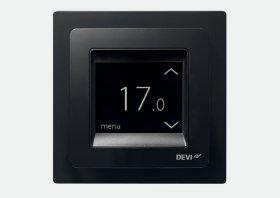 Termostatas DEVIREG Touch ELKO, 16 A su grindų ir patalpos jutikliu, juodas, 140F1069