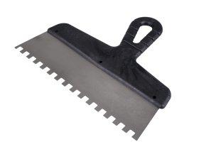 Nerūdijančio plieno dantyta glaistyklė PAINTER SZP0640 6 x 6 mm, 150 mm, su plastikine rankena.