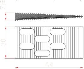 Montažiniai pleištai EDELMAX 1631:E, 64 x 30 x 7,8 mm, dantukai iš abiejų pusių, 50 vnt.